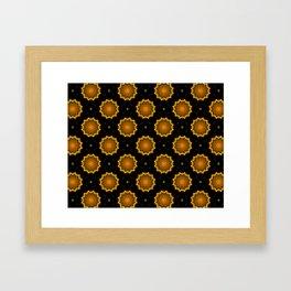 Black and Gold Autumn Floral Mandala Fractals - Moroccan style Framed Art Print