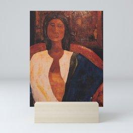 Woman in Blue Scarf Mini Art Print