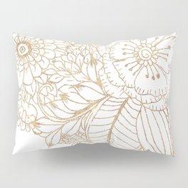 Elegant white faux gold glitter modern floral Pillow Sham