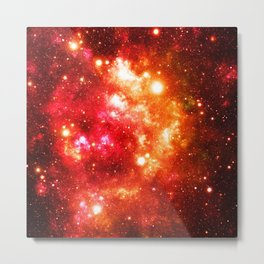 Red Orange Galaxy Nebula Metal Print