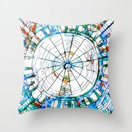 Glass stain mosaic 5 - circle Throw Pillow