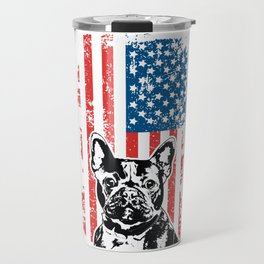 French Bulldog American Flag Travel Mug
