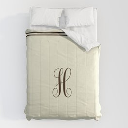 Monogram Letter H in Brown with Double Border Line Comforters