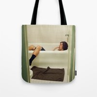 caleb troy Tote Bags featuring Caleb. by Will Copeland