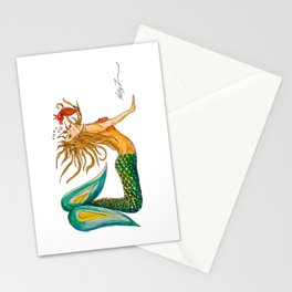 Mermaid Yoga Up Dog Pose Stationery Cards