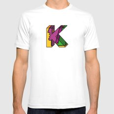 Letter K MEDIUM White Mens Fitted Tee