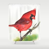 cardinal Shower Curtains featuring Cardinal by LouiseDemasi