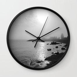 Foggy Harbor North Shore 3 BW Wall Clock