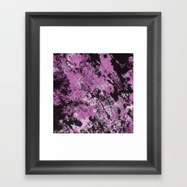 Abstract Texture Deux - Purple, White and Black Framed Art Print