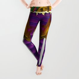 Stars of the magical wand in a golden moonlight night Leggings