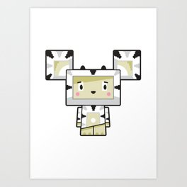 Cute Cartoon Blockimals Zebra Art Print