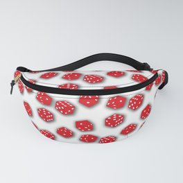 Dice Red on White Fanny Pack