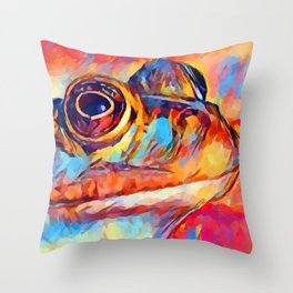 Frog Watercolor Throw Pillow