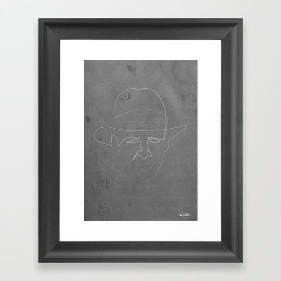 One line Indiana jones Framed Art Print