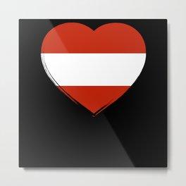 Austria Flag Heart Metal Print