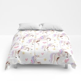 Rainbow Unicorns — Hearts & Stars Comforters