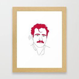 Blue-tooth pink mustache guy Framed Art Print