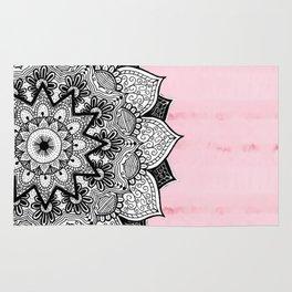 Artistic Boho Hand Drawn Mandala on Pink Tie Dye Rug