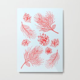 Pine Cones and Pine Branches Pattern (Light Blue and Red) Metal Print