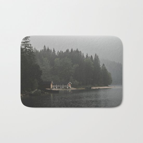 Foggy mornings at the lake II - landscape photography Bath Mat