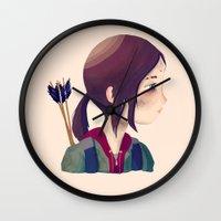 ellie goulding Wall Clocks featuring Ellie by Nan Lawson