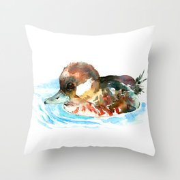 Duck, Bufflehead Duck baby Wild Duck Throw Pillow