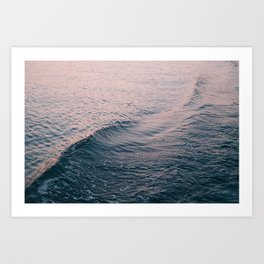 Pink Sunset Waves Art Print