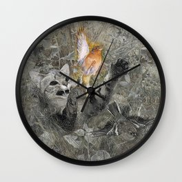Red in tooth and claw - cat and bird Wall Clock