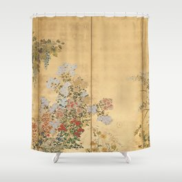 Japanese Edo Period Six-Panel Gold Leaf Screen - Spring and Autumn Flowers Duschvorhang