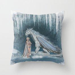 Wonderful fairy with snow dragon Throw Pillow