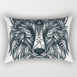 Fox Wolf Tribal Head Rectangular Pillow