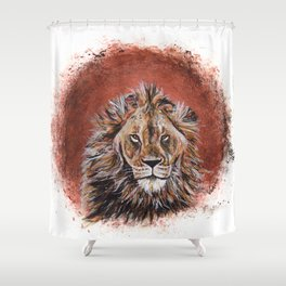 African Lion in Circle Shower Curtain
