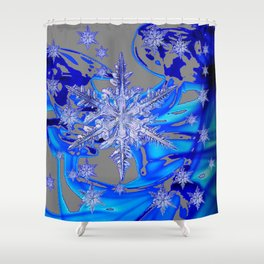 MODERN ROYAL BLUE WINTER SNOWFLAKES GREY ART Shower Curtain
