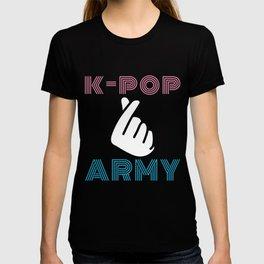 Retro K-Pop Army Finger Heart Korean Pop Music T-shirt