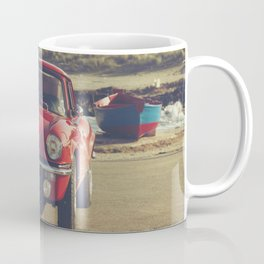 Triumph Spitfire by Mediterranean sea with ship, fine art photo, british car, sports car phorography Coffee Mug