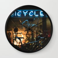 bicycles Wall Clocks featuring Bicycles   by {she tells stories}