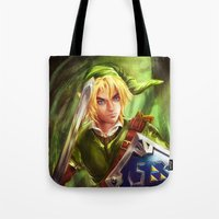 the legend of zelda Tote Bags featuring Link - Legend of Zelda by Sanjin Halimic