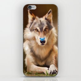 Wolf and butterfly iPhone Skin