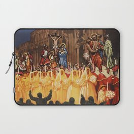 Italian travel ad Christian Easter procession Trapani Laptop Sleeve
