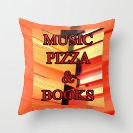 Music Pizza & Books Throw Pillow