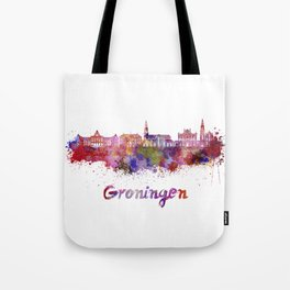 Groningen skyline in watercolor Tote Bag