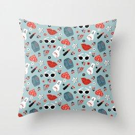 Rockabilly woman Throw Pillow