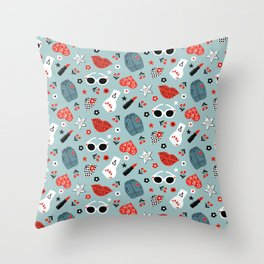 Rockabilly woman Throw Pillow
