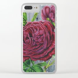 Crimson Rose Grey Winter Fence Collage Clear iPhone Case