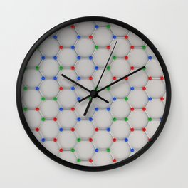 Graphene atomic structure on white Wall Clock