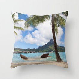 Bora Bora Photography - Tahiti - French Polynesia - Mt Otemanu - Beach - Overwater Bungalow - Fine A Throw Pillow