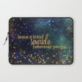 Leave a little sparkle wherever you go - gold glitter Typography on dark space background Laptop Sleeve