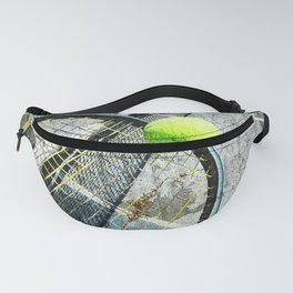 Modern tennis ball and racket 7 Fanny Pack