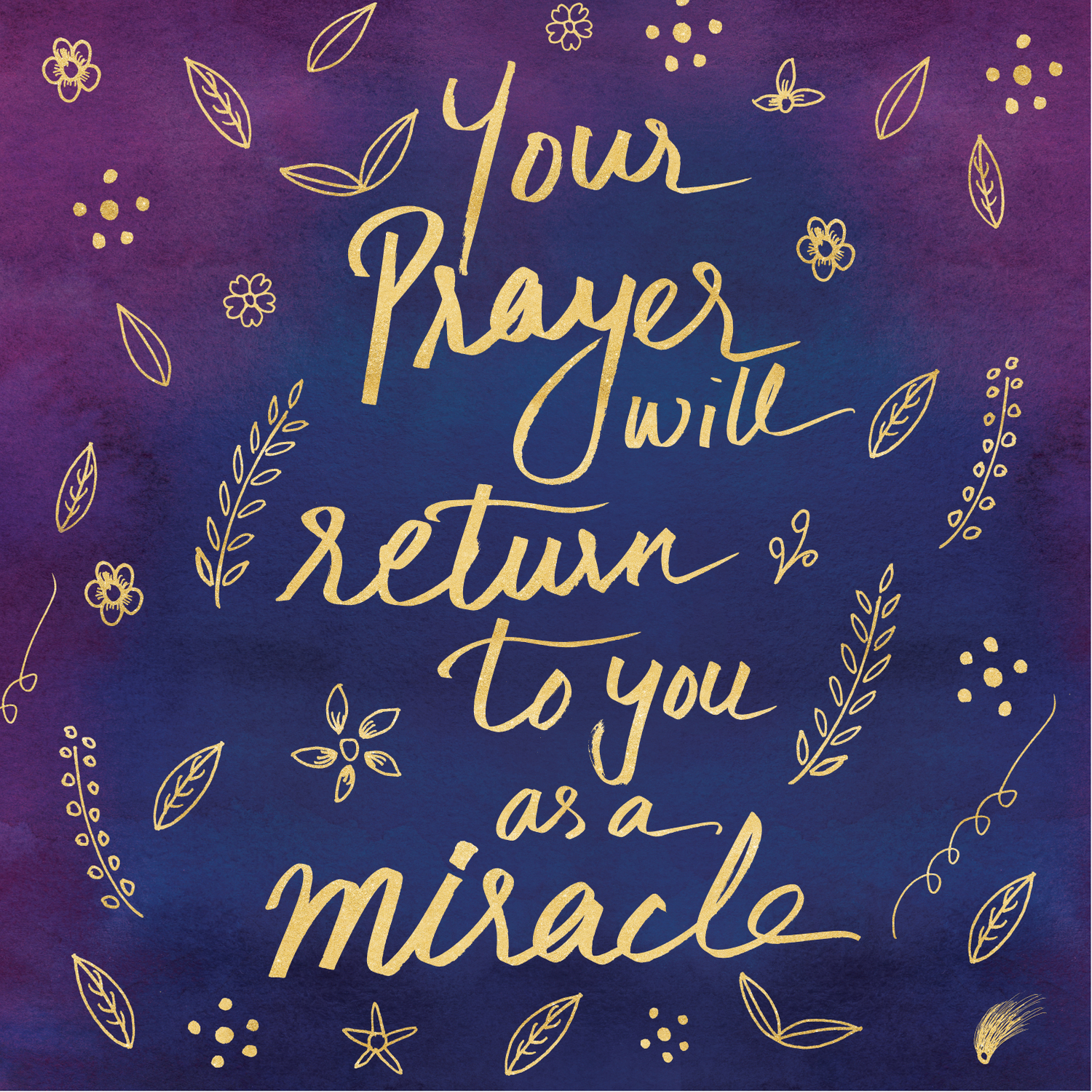 Purple Blue Typography Prayer Miracle Faith Spirituality Quote Watercolor  Motivational Art Print Comforters