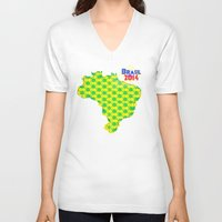 brasil V-neck T-shirts featuring Brasil 2014 by Bunhugger Design